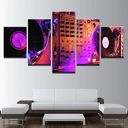 ASDZXC Leinwand Bilder Wandkunst Rahmen Home Decor 5 Stücke Dj Nacht Club Von Mural Bar Produktion Malerei Musik Tanz Halle Drucke Poster
