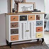FineBuy Sideboard FAHID 120x105x40 cm Vintage-Stil Mango Massivholz/Metall | Design Kommode Schmal Bunt | Dielenkommode Standschrank Hoch | Anrichte Schlafzimmer Massiv | Schubladenkommode Flur