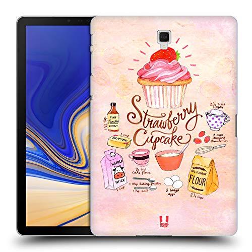 head case designs cupcake fragola ricette illustrate cover dura per parte posteriore compatibile con samsung galaxy tab s4 10.5 (2018)