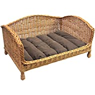 Prestige Wicker Pet Bed Settee with Cushion, Medium (handmade item, Size may vary sightly)
