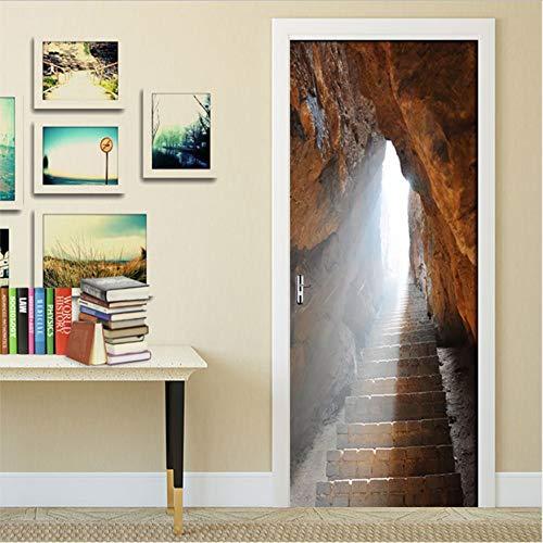 xxsongue PVC Self-Adhesive Door Sticker Wall Sticker Primitive Cave Stone Waterproof 3D Wallpaper Poster Bedroom Door Home Decor Mural 77X200Cm