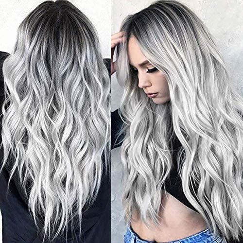 Lange gewellte Schwarze bis Silberne graue Perücke Schwarze Wurzel Ombre Silberne graue gelockte Perücke synthetische Haarperücken für Frauen