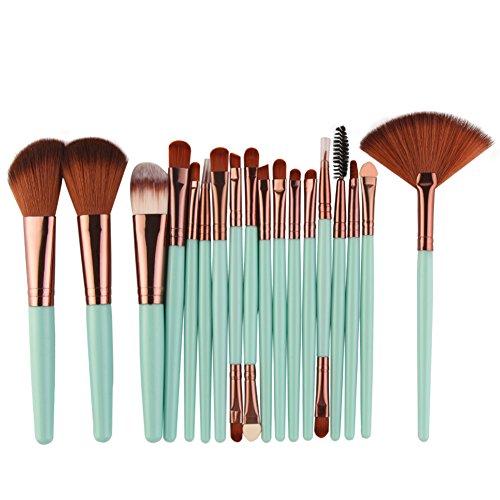 Cdet. 18Pcs Kit De Pinceau Maquillage avec Manche en Plastique Cosmétiques Brush Ensemble Fondation Mélange Blush Yeux Visage Poudre Brosse Make Up Série de Style Cool Or Rose Vert