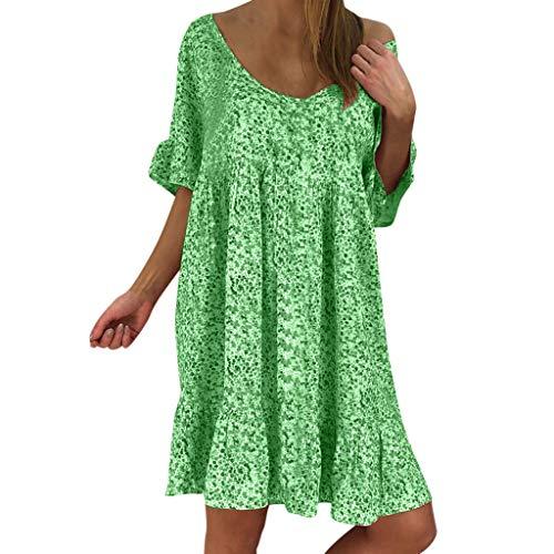 Yvelands Damen Kleid Sexy Loose Print Hlaf Rüschen Minikleid ()