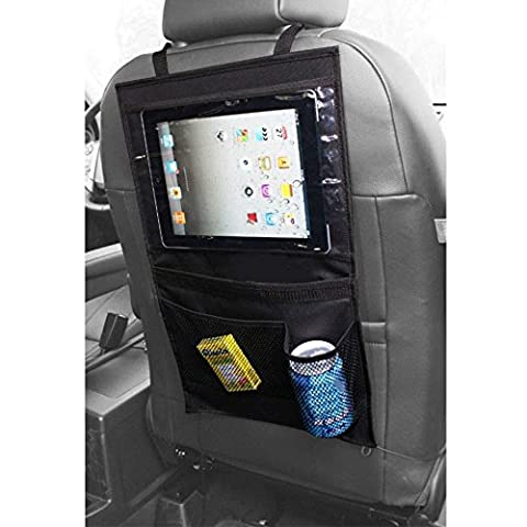 Forepin® iPad Tablet Auto Rücksitztasche Rücksitz Organizer Fahrzeug Reise Multi-Tasche Aufbewahrungstasche Organiser Kasten Hängend Wickeln Flaschenhalter Tissue Pouch Schwarz