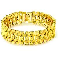 OMZBM Herren Armband Vergoldet 18K Gold Classic Dominierende Wide Face Kette Armband Zubehör Schmuck