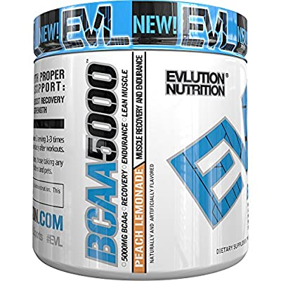 Evlution Nutrition BCAA5000 Powder 5 Grams of Premium BCAAs, 30 Servings by Evlution