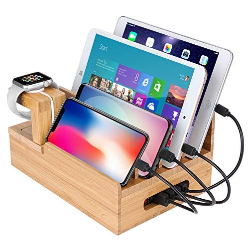 Estación de carga, MaxTronic Bambú soporte de carga de dispositivos múltiples organizador de cable universal oscuro para Apple Watch, teléfonos inteligentes, iPad y tabletas