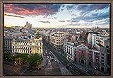 TEXFOTO Cuadro Enmarcado - Calle Gran Vía de Madrid y Edificio Metrópolis Atardecer Intenso -...