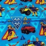 Hemmers Jersey Stoff–Feuerwehrmann Sam, Blau–hem45Schneiderpuppe & Kinder Kleidung Stoff–95% Baumwolle, 5% elastane–von 0,5m 50cm x 150cm