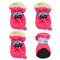 Doggie Style Store Pink Fleece Lined Waterproof Dog Puppy Pet Rain Snow Boots (Pack of 4) Reflective Non Slip Booties Socks Shoes