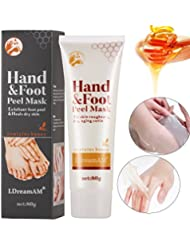 Exfoliant Peel Foot Mask,Masque Pied Peeling,Treatment for Hands and Feet ,Exfoliant Peel Off Hand Foot Mask Baby Pied doux Supprimer Callus Hard Dead Skin Miel Cire Main Pied Masque Hydratant Blanchissant Exfoliant anti-rides à la main Cire Masque