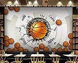 Llwmn Decorazioni Per La Casa Su Misura Per La Carta Da ParatiClassica Per Il Basket Con LaCarta Da Parati DiPallacanestro Di Moda Stereo 3D-300cmx210cm