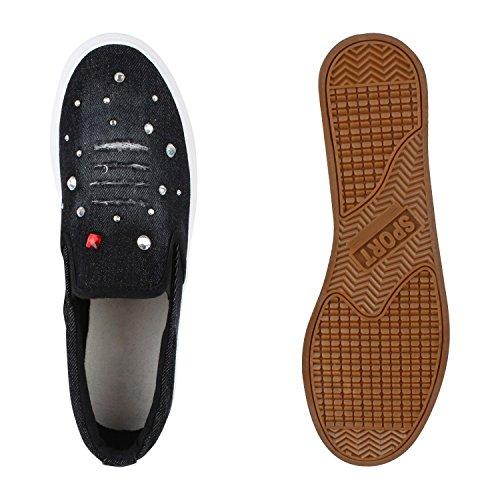 Damen Glitzer Slip-ons Plateau Metallic Slipper Mode Schuhe | Gr. 36-41 | Aktuelle Kollektion Schwarz Denim Strass