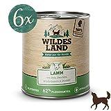 Wildes Land | Nassfutter für Hunde | Nr. 1 Lamm | 6 x 800 g | mit Reis, Zucchini, Wildkräutern & Distelöl | Glutenfrei | Extra viel Fleisch | Beste Akzeptanz und Verträglichkeit