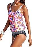 Orange Damen Tankini Push Up mit Unterhose Badeanzug größe größen Bademode Bauchweg in Größe L
