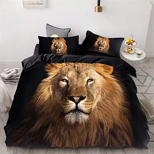 YUNSW Lion Tiger 3D Impresión Digital Funda Nórdica Funda De Almohada Individual Doble Full Queen...