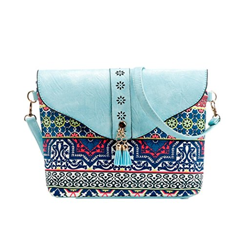 Fiore di stampa borse, donne fiore stampa borse borsa dolce modello di cuoio artificiale spalla Messenger Bag by Kangrunmy Blu Cielo