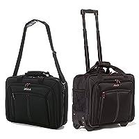 Aerolite Business Bag Set �?? 2 Wheeled Laptop bag and Shoulder Bag (LB17 Black + WLB31 Black)
