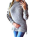 OSYARD Damen Geschlitztem Schnür Pullover Rundhalsausschnitt Langarmshirts, Frauen Strick O-Neck Langarm Lose Jumper Tops Bluse T-Shirt Sweatshirt (S, Grau)