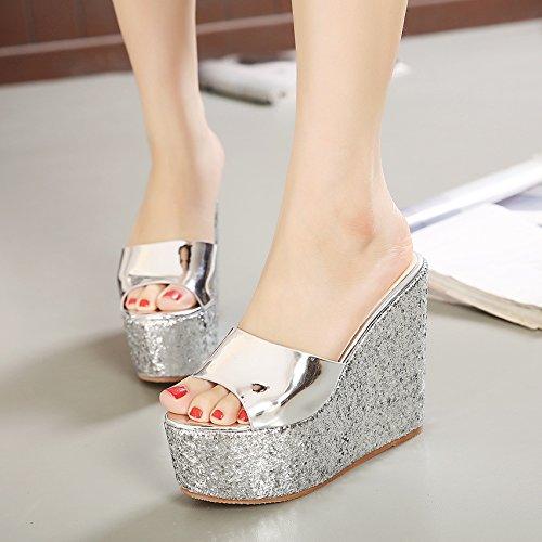 ZYUSHIZ Mme Bureau imperméable Chaussons Cool High-Heel Les Philippines avec cache épais Sandales Pantoufles 33