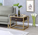 Major-Q p9083344gl 55,9cm H Moderner Stil 8mm Quadratisch Klar gehärtetem Glas Gold Metall Rahmen Espresso Finish Holz Top Schublade Ende Tisch