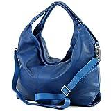 modamoda de - ital Damenhandtasche aus Nappaleder DS26, Präzise Farbe:Blau