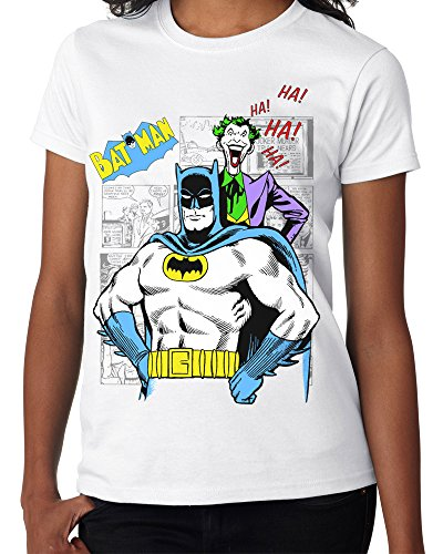 Lukreative Design Classic Batman and Joker Comic Book Graphic Novel - Ladies White Tee Shirt