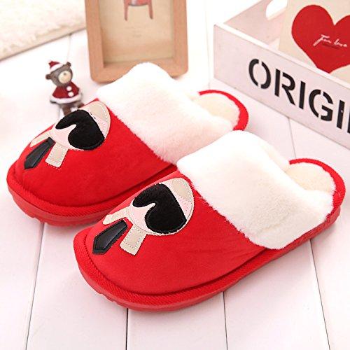 DogHaccd pantofole,Pantofole di cotone femmina SOGGIORNO DI CASA AUTUNNO INVERNO piscina caldo inverno giovane Cartoon carino pantofole in lana di uomini e donne. Il rosso1