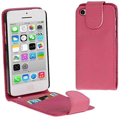 Mxnet Vertikale Flip Leder Tasche mit Kreditkarte Slot für iPhone 5C rutschsicher Telefon-Kasten ( Color : Magenta - Iphone Kreditkarten-telefon-kasten 5c