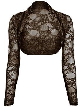 (womens long sleeved lace shrug bolero) Mujeres encaje encogimiento de hombros bolero ((black) negro, (one size...