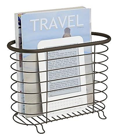 mDesign porte revue – porte magazine élégant en acier inoxydable pour la salle de bain – porte journal aussi utilisable pour des livres, tablettes etc. – couleur : bronze