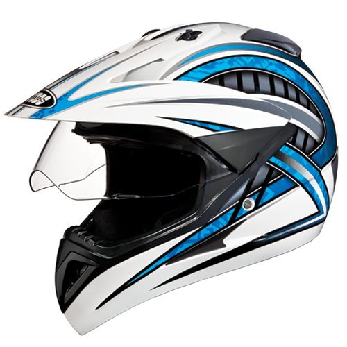 Studds Motocross D2 Helmet With Visor (White N1, XL)
