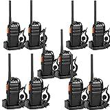 Retevis RT24 Walkie Talkie PMR446 Licenza-libero Ricetrasmittenti VOX 16 Canali Lunga Distanza 1100mAh con Auricolare Ricetrasmettitore (Nero,5 Coppia)
