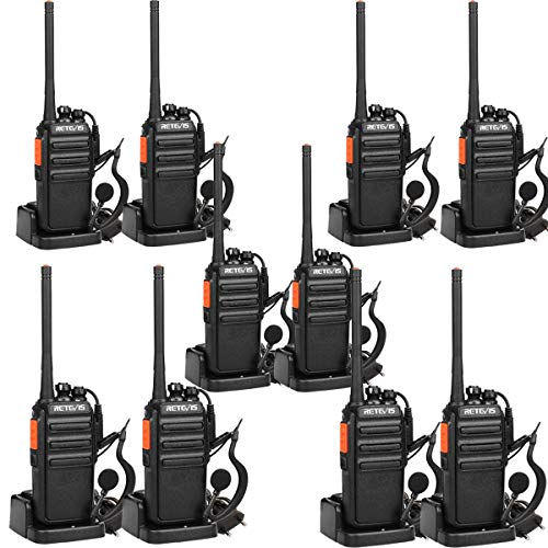 Retevis RT24 Talkie Walkie PMR446 sans Licence Professionnel Rechargeables Scan Surveillance 16 Canaux 50 CTCSS 210 DCS Chargeur Européens avec Oreillettes (Noir,10 pcs)