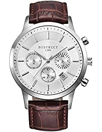 DISTRICT London Executive Edition 40IMM Men's Quartz Luxury Sub Dial Watch Analogue Display and Leather Strap - Classic Elegant Design - Dress Watch - Waterproof Wristwatch with Stainless Steel Case.
