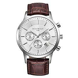 District London Mens Brown Leather Watch with Silver Face and Sub Dials Designed in The UK