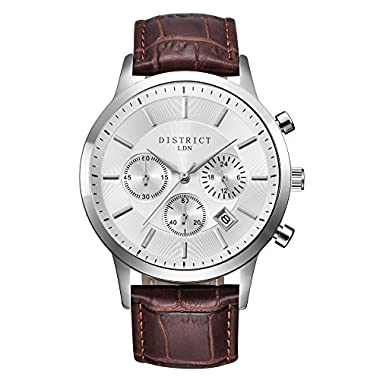 District London Executive Edition Mens Brown Leather Watch with Silver Face and Sub Dials Designed in The UK