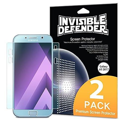 Protecteur d'écran pour Samsung Galaxy A5 2017, Invisible Defender [Couverture intégrale][2-Pack] Garantie de couverture incurvée bord à bord [Compatible avec Coque] Film HD Transparent Super mince