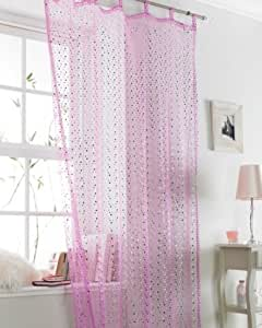 """""""POPSICLE"""" TAB TOP VOILE CURTAIN PANEL IN PINK"""