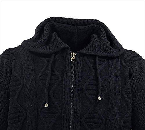 Herren Designer Strickjacke in Übergröße mit Reißverschluss und Kapuze von Lavecchia in schwarz Schwarz