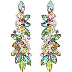 Clearine Femme Vogue Mariée Noces Cristal Fleur Romantique Pendant Clip-On Boucle d'Oreille Multicolore