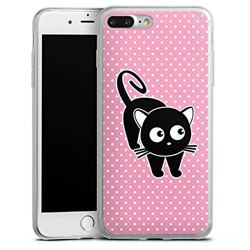 Apple iPhone 8 Plus Slim Case Silikon Hülle Schutzhülle Katze Punkte Cat Silikon Slim Case transparent
