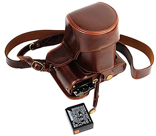 Voller Schutz Boden Öffnung Version Schutzmaßnahmen PU Leder Kameratasche Tasche für FUJIFILM Fuji X Serie X - T20, X - T10 16 bis 50mm Objektiv mit Schulter Hals Strap Gürtel Dark Brown