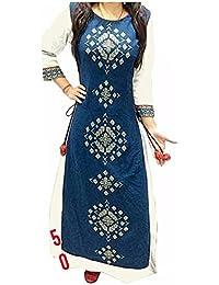 Muta Fashions Women's Banglory Silk Dress Material (KURTI213_Free Size_White)