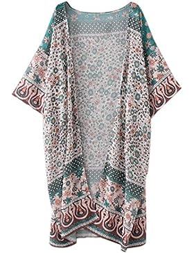 Cinnamou Cardigan largo, Abrigo de señora estampada Mujeres Chifón Kimono de Flores Suelto Media Manga Chal Cárdigan...