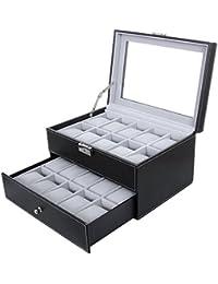 SONGMICS JWB020, Caja para 20 de Relojes, Joyería Soporte de Exhibición de Relojes, color negro