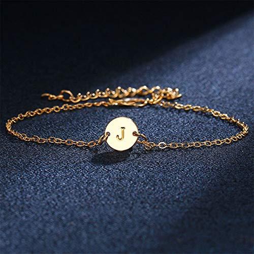 ZKZDSL Armband Armband Einfache Gold Farbe Englisch Brief As Armband Für Frauen Männer Armreif Fußkettchen Strand Paar Geschenk Modeschmuck Gold