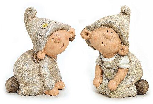 TEMPELWELT Wichtel Figur Gartenzwerg Junge und Mädchen im Set je 30 cm groß Polystein grau braun beige, Garten Deko Zwerg Gartenfigur Paar