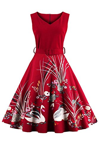 Damen 60er Jahre Retro Rockabilly Kleid Sommerkleid mit Schwan Knielang Rot S